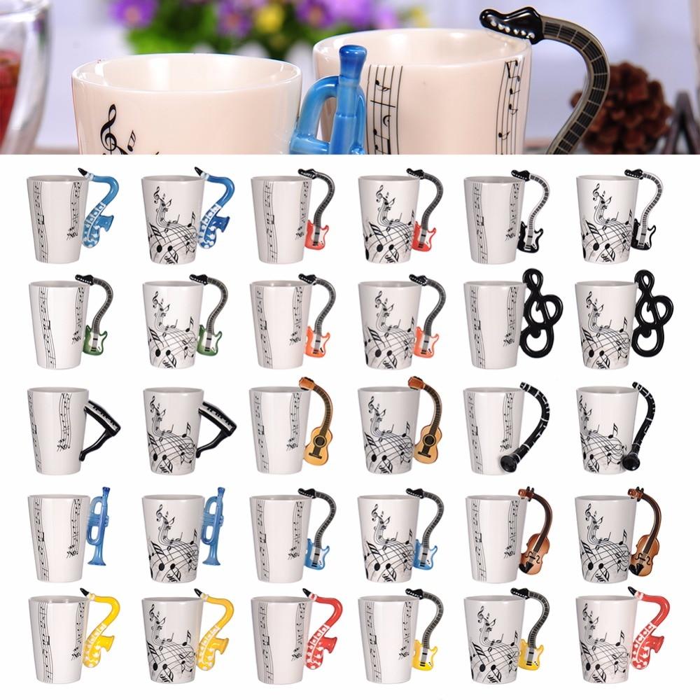 Neuheit Musik Hinweise Gitarre Griff Keramik Becher Für Obst Saft Kaffee Tee Zitrone Flüssigkeit Schokolade Wasser Milch Tassen Drop Verschiffen