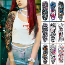 Large Arm Sleeve Tattoo Pink Cyan Eyes Angel Waterproof Temporary Sticker Rose Wings Sun Men Full Skull Tatoo Women