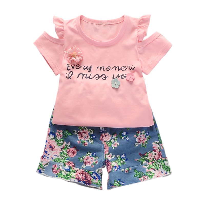 Kids Clothes Summer Style Baby Girls Shirt +Shorts Suit Children Clothing Sets Casual Style 2017 summer style girls clothing set baby girl clothes sets cartoon flower children kids black t shirt skirt white casual suit