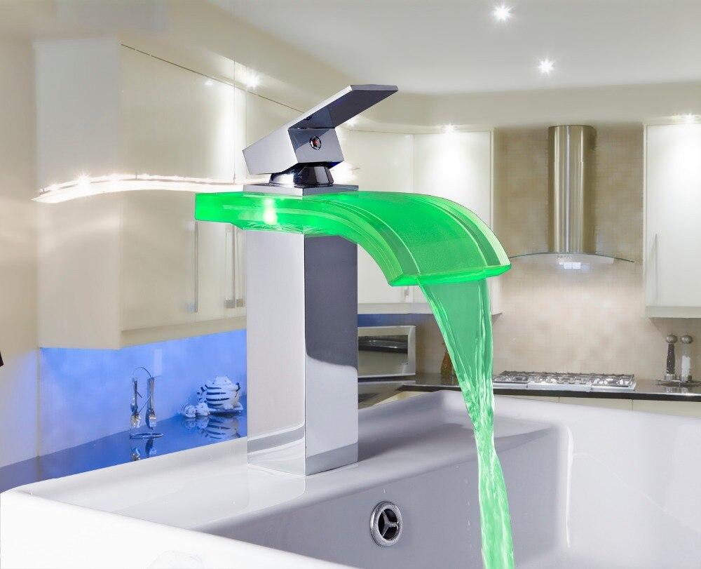 Ouboni одной ручкой bacia torneira светодиод 3 цвета Водопад Ванная комната хром палубе крепление умывальник раковина смесители, смеситель 8220-3/7