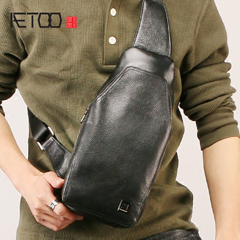 AETOO Fashion mens leather chest bag, cowhide outdoor ride oblique shoulder bag, trendy multifunctional male chest bagAETOO Fashion mens leather chest bag, cowhide outdoor ride oblique shoulder bag, trendy multifunctional male chest bag