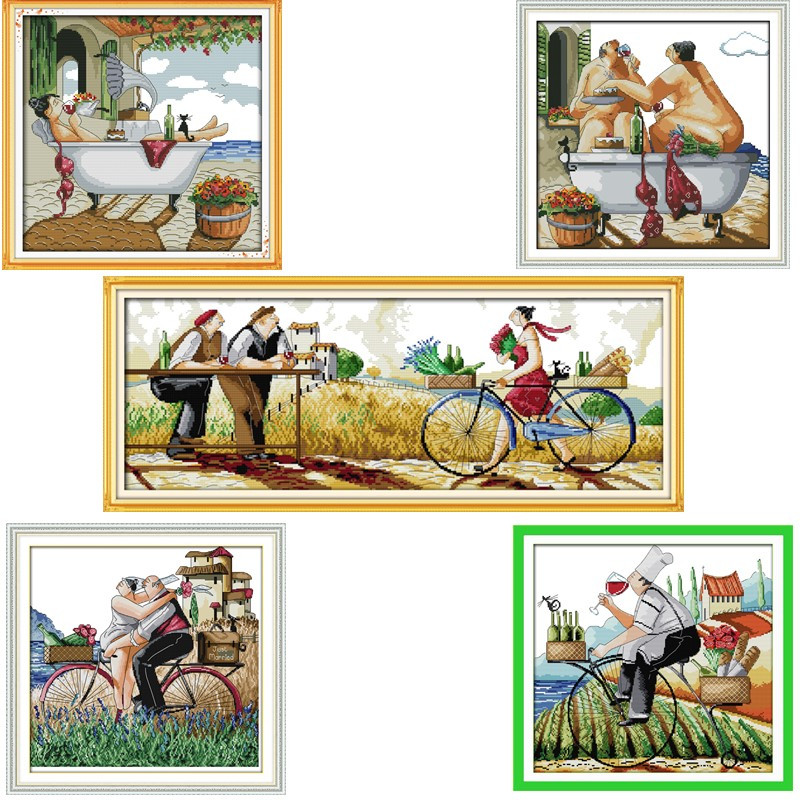 Nikmati Hidup Anda Corak Cross-Stitch DMC 11CT 14CT Counted Cross Stitch Kit Untuk Embroidery DIY Needlework Cinta Gaya Hiasan Rumah