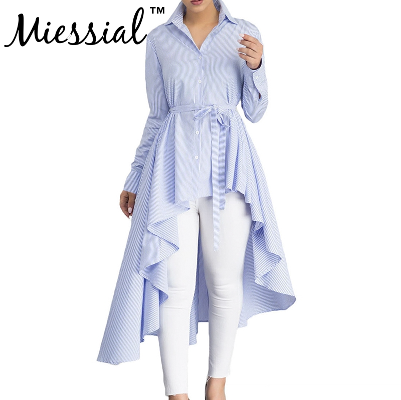 Miessial Party Blouse Shirt Plus Size Peplum Ruffle belt Blouse Summer Women Sexy Elegant Irregular Shirt Top striped print