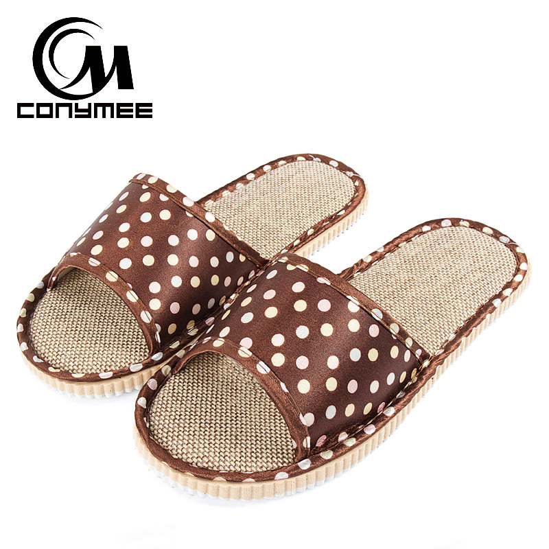 CONYMEE Flax Home Slippers Indoor Floor Mens Shoes Plus Size Silent Sweat Slippers For Summer Men Sandals Linen Beach Slippers