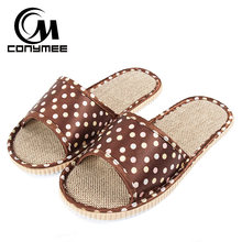 CONYMEE Flax Home Slippers Indoor Floor Mens Shoes Plus Size Silent Sweat Slippers For Summer Men Sandals Linen Beach Slippers(China)