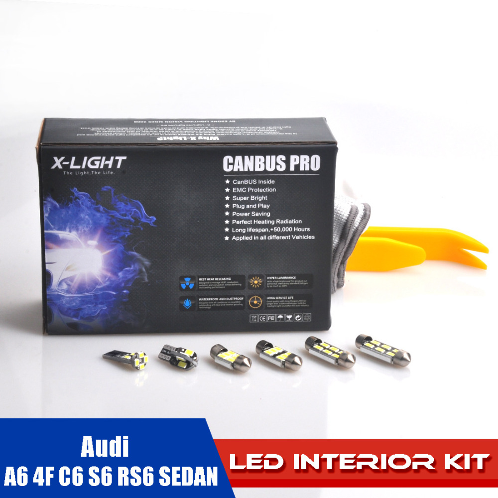 AUDI A6 4F C6 S6 RS6 SEDAN LED Interior Reading Full Map Light Package with Install Tools 5630 High Power LED x17pcs 15pc x 100% canbus led lamp interior map dome reading light kit package for audi a4 s4 b8 saloon sedan only 2009 2015