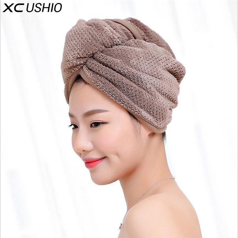 XC USHIO 1 Piece Womens Girls Lady's Magic Quick Dry Bath Hair Drying Towel Head Wrap Hat Makeup Cosmetics Cap Bathing Tool
