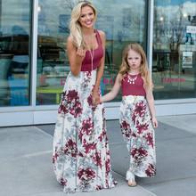 Платье для мамы и дочки семейные наряды Длинные Лоскутные Платья