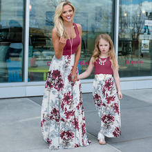 Anne Ve Ben Kızı Eşleşen Elbise Aile Kıyafetler Kolsuz Patchwork Uzun Elbiseler Anne Kızı Vestito Görünüm Anne Çiçek Elbise