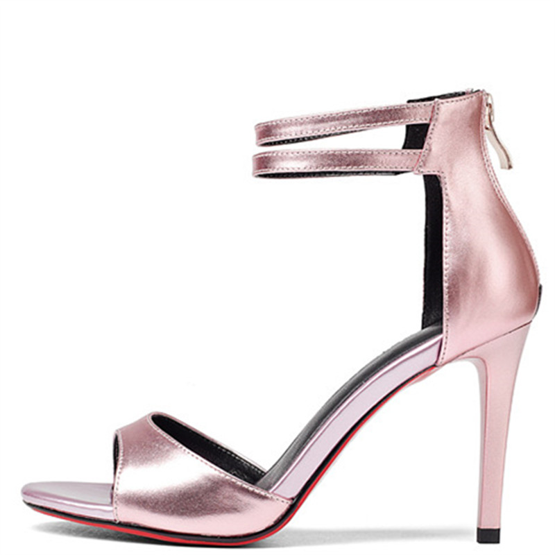 LOVEXSS Silver Open Toe Heels Sandals Sexy Party Ball Genuine Leather Peep Toe Pumps White Pink Wedding High Heeled Shoes 2018 lovexss genuine leather sandals heel wedding party square toe black pink pumps high woman shoes plus size 33 43 sandals 2017