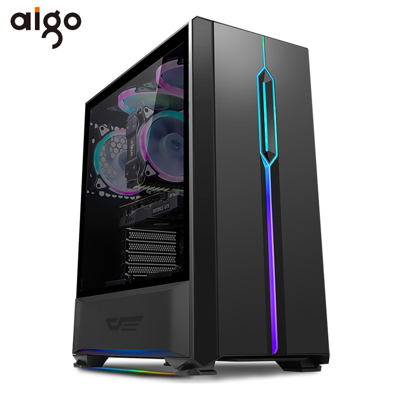 Aigo T20 Computer Case ATX Mid-Tower Tempered Glass Gaming Desktop RGB PC Computer Chassis Case with 1pcs 120mm LED Rainbow Fans computer case