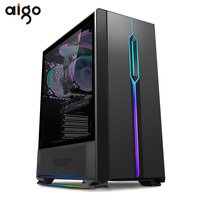 Aigo T20 Computer Case ATX Mid Tower Tempered Glass Gaming Desktop RGB PC Computer Chassis Case with 1pcs 120mm LED Rainbow Fans