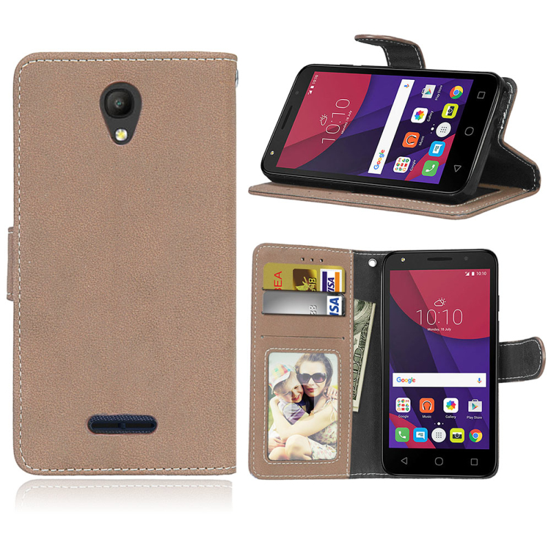 Luxury Frosted Leather Wallet Phone <font><b>Case</b></font> <font><b>For</b></font> <font><b>Alcatel</b></font> One Touch <font><b>POP</b></font> <font><b>4</b></font> 5.0