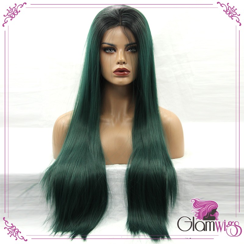 Long Straight Ombre Green Dark Root Synthetic Lace Front Wigs South Afric Women Wigs with Baby Hair Glueless Lace Wigs-2