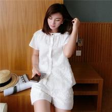 New Summer Woman Pajama Sets Short Sleeve Sweet Embroidery Loose Pyjama + Shorts Two-Piece Elegant White Sleepwear LMR09