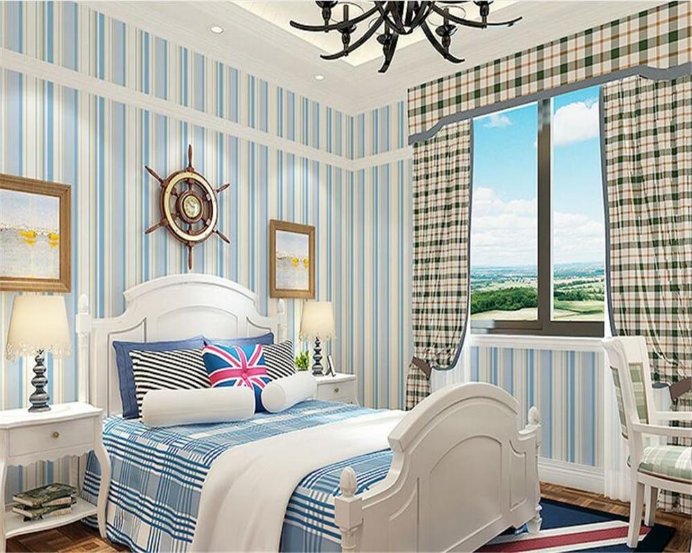 beibehang Mediterranean papel de parede blue vertical striped nonwoven 3d wallpaper classic background simple modern wall paper beibehang  mediterranean blue modern