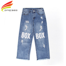 DFRCAEG 26-32 Woman Vintage Wide Leg Pants Jeans With Hole Plus Size Ankle-Length Denim Trousers Print Letter High Waist Jeans