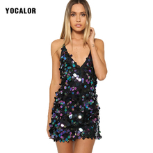 YOCALOR Womens Sexy Dresses Deep V-neck Sequin Women Sundress Summer Fashion Short Party Night Club Little Black Dress Female
