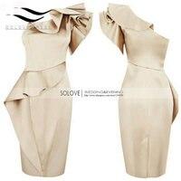 Новинка Реальный образец линии на одно плечо Совок атласа Короткие платье для выпускного вечера ES Vestido дебютантка Курто вечернее платье для...