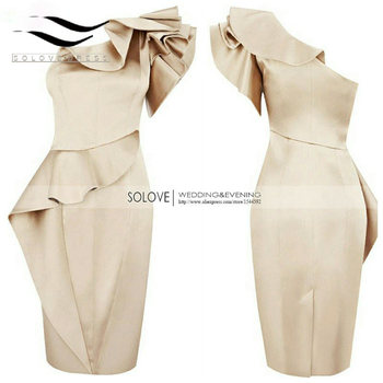New arrival real sample a line one shoulder scoop satin short prom dresses vestido debutante curto.jpg 350x350