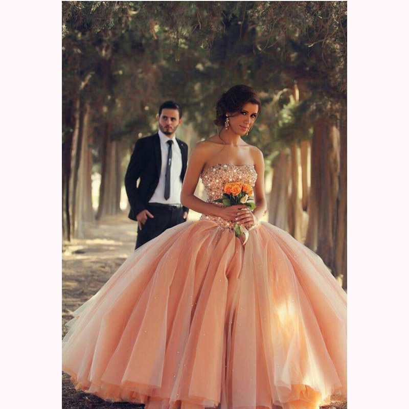 Gorgeous Sheer Ball Gown Wedding Dresses 2017 Puffy Beaded: 2017 Elegant Puffy Wedding Dresses Ball Gown Pearls Beaded