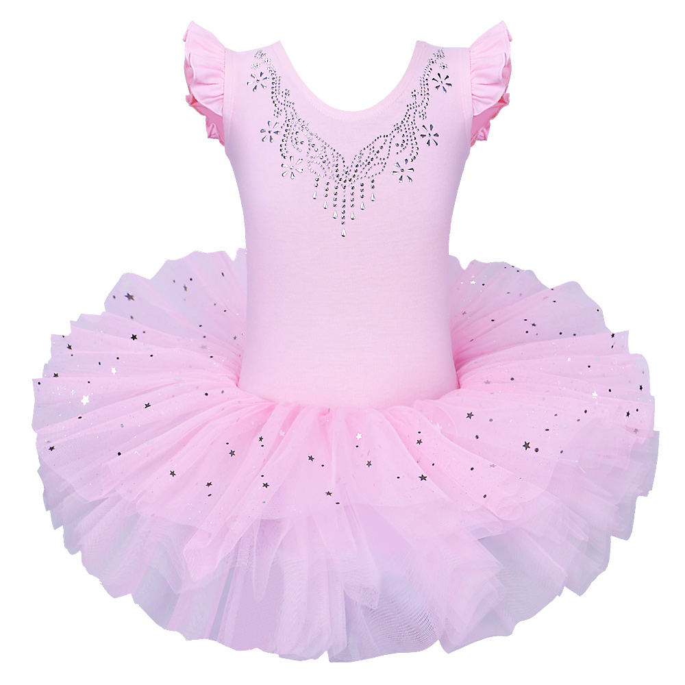BAOHULU Children Sleeveless Ballet Tutu Official Costume Ballet Dress Pink Bow Pattern Ballet Dance Clothing For Girl Ballerina
