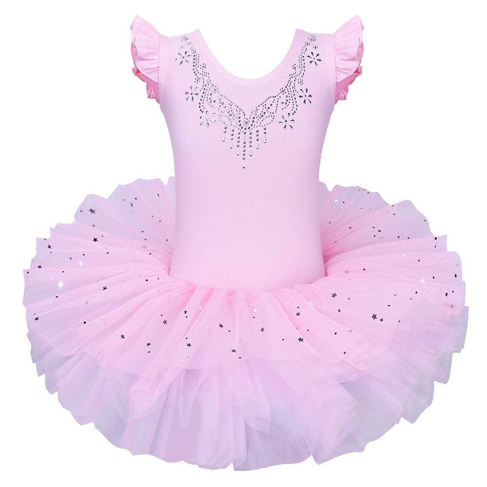 BAOHULU Children Sleeveless Ballet Tutu Official Costume Ballet Dress Pink Bow Pattern Ballet Dance Clothing For Girl Ballerina