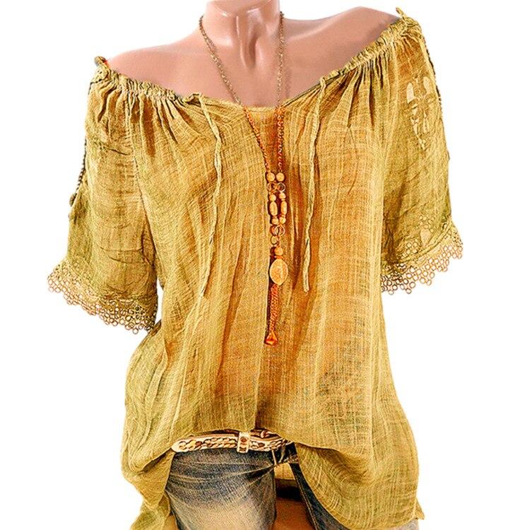Summer Women Blouse Lace Up Shirt Short Sleeve Off Shoulder Tops Slash Neck Loose Casual Basic Plus size 5xl Blouses Shirts 2018 4