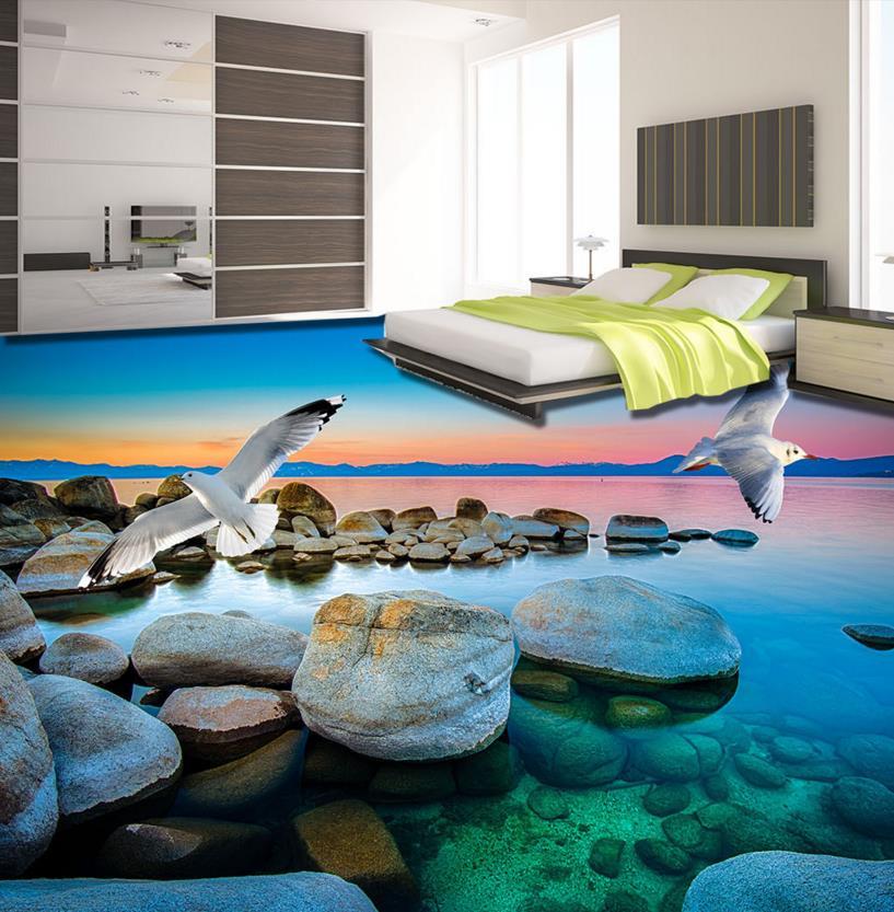 Украшение дома 3d пола Пляж камень Чайка пол виниловая плитка водонепроницаемый самоклеющиеся 3d половой коврик из ПВХ
