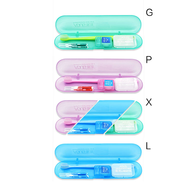 Portable Orthodontic Toothbrush Interdental Brush Dental Floss Brace Protection Wax Teeth Whitening Cleaning Tools Kit 5Pcs/Set