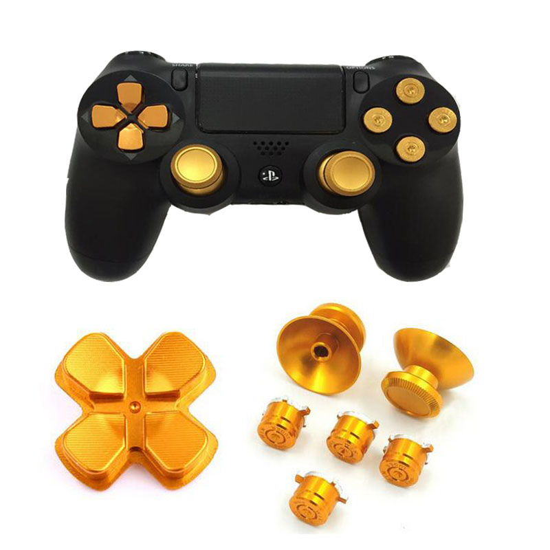 Metal Analog Joystick ThumbStick Grips Cap+D-pad Action Key Bullet Button For Playstation Dualshock 4 PS4 Controller Replacement