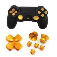 Metalen Analoge Joystick Thumbstick Grips Cap + D Pad Action Sleutel Bullet Button Voor Playstation Dualshock 4 PS4 Controller vervanging