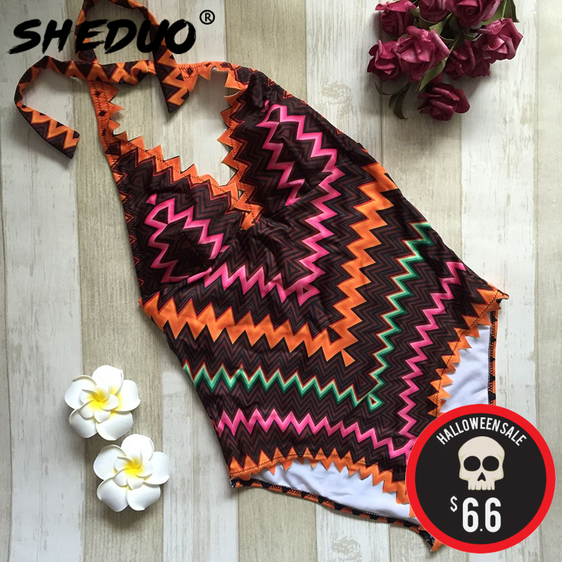 One-piece Sexy Swimsuit Women Print Swimwear Halter Bodysuit Deep V Beach Bathing Suit Monokini Maillot De Bain Femme tequila por favor letter custom swimsuit one piece swimwear bathing suit women sexy bodysuit funny swimsuits jumpsuits rompers