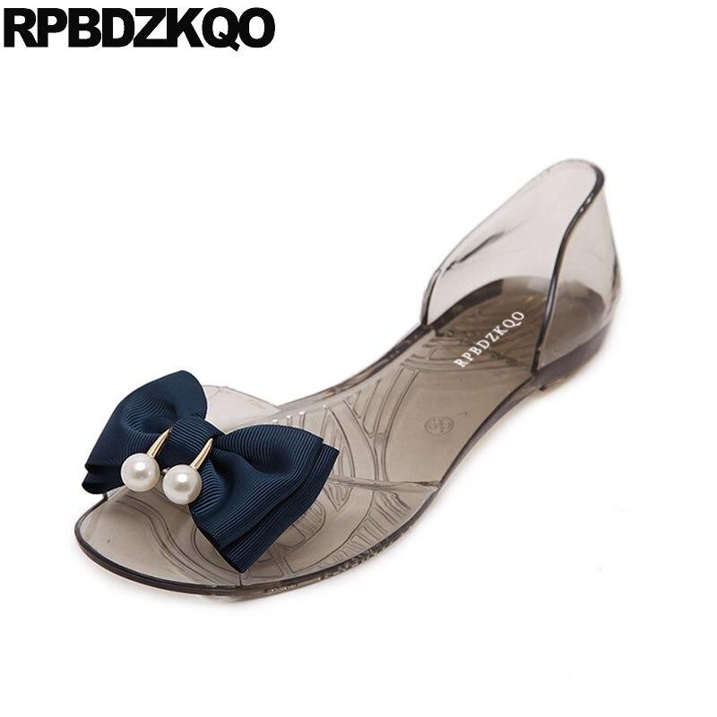 лук обувь день отдыха каваи прозрачный открытый носок дешево галстук бабочка жемчужный милый пляж надевать женские сандалии плоские случа