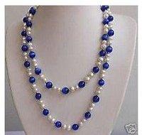 Elegant White Pearl Blue jades necklace 32 inches Fashion AKOYA Free shipping