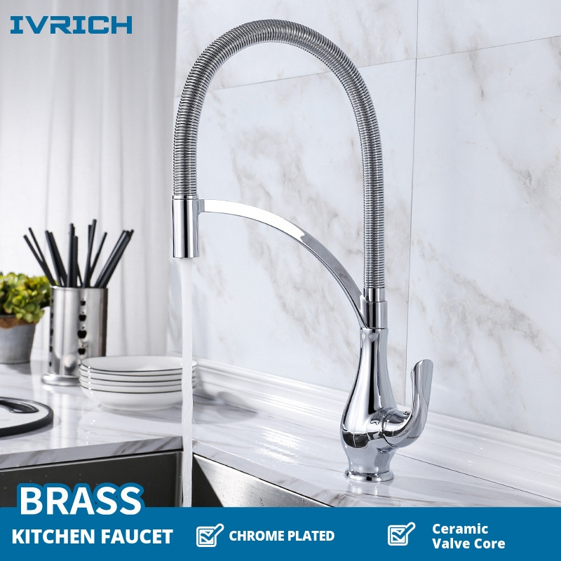 IVRICH Brass Chrome Plated Kitchen Faucet Pull Out Spring Tube With Fixed Holder Sink Mixer VR2301C