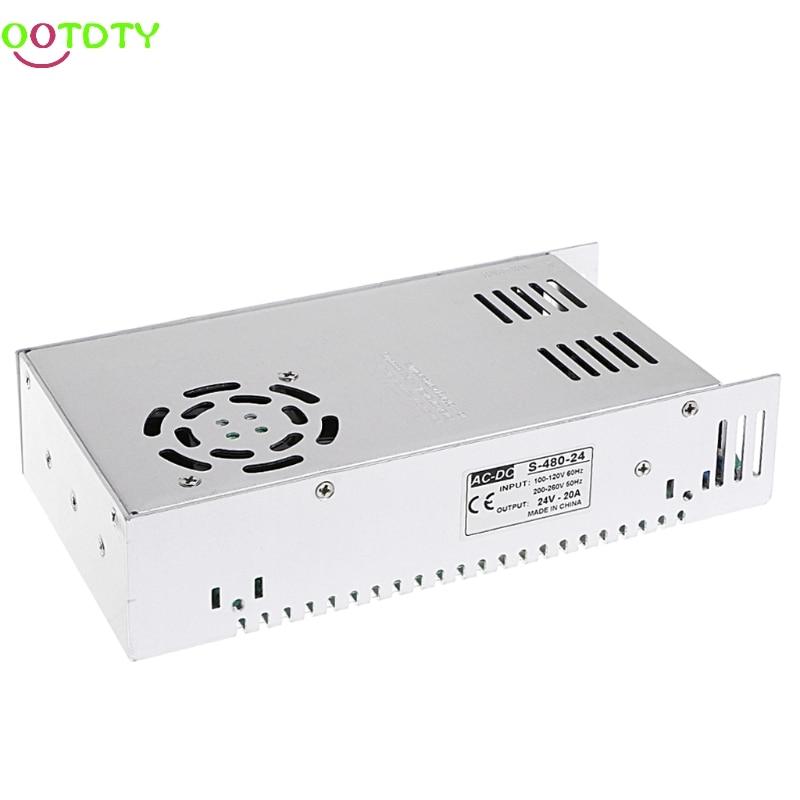AC 100-260V To DC 24V 20A 480W Switch Power Supply Driver Adapter LED Strip Light  828 Promotion 4pcs 12v 1a cctv system power dc switch power supply adapter for cctv system