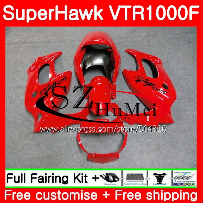 Комплект для HONDA SuperHawk VTR1000F 97 02 03 04 05 108SH16 VTR1000 F VTR 1000F 1000 F 1997 2002 2003 2004 2005 глянцевый красный обтекателя