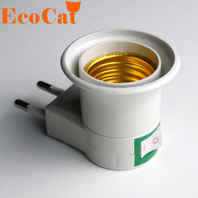 ECO CAT  E27 EU plug adapter with power on-off control switch Christmas E27 Socket Lamp Base Lamp Socket Free Shipping