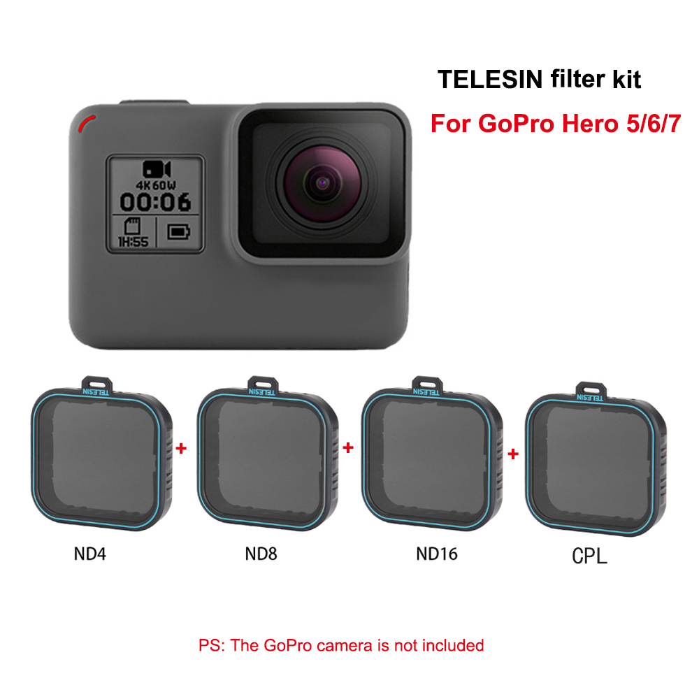 TELESIN 4 pack Filter Set 3 ND Fiter ND4 8 16 1 CPL Filter For Gopro