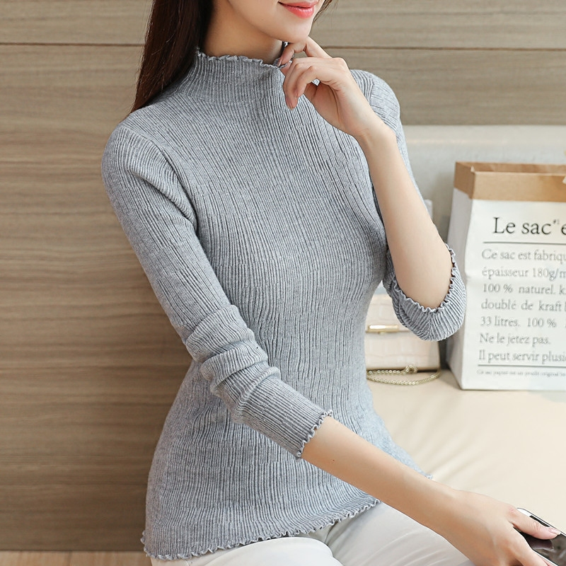 Women Solid Soft Waves Half Turtleneck Sweater Fashion Knitted Brife Pullover Sweaters women Autumn Knitwear Outfit Tops 8 color