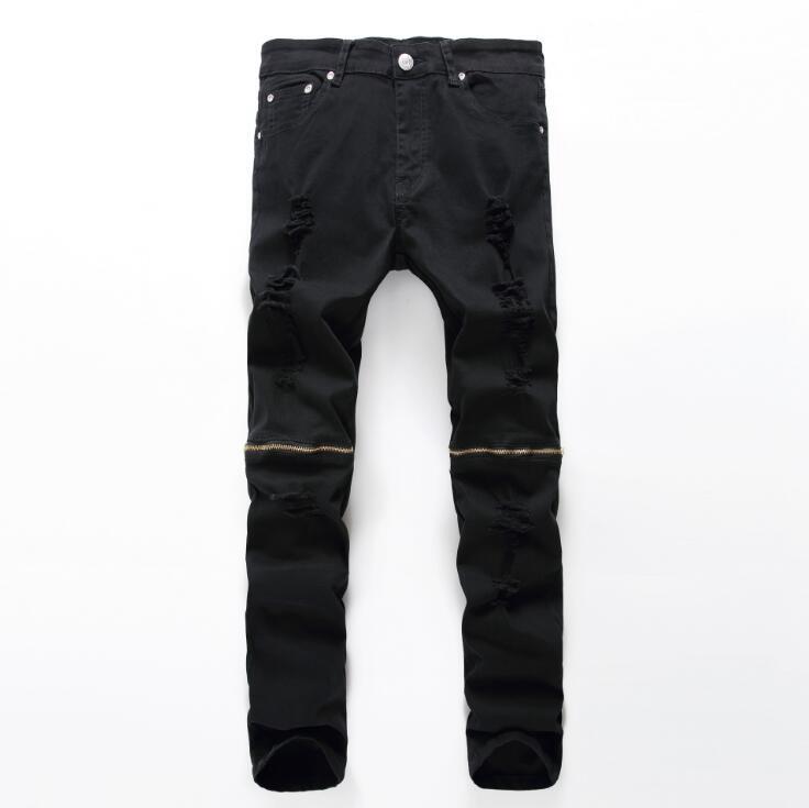 #2721 Black ripped jeans men Skinny Fashion Pantalones hombre Jeans hommes Biker Moto jeans Jogger White/Black jeans for men