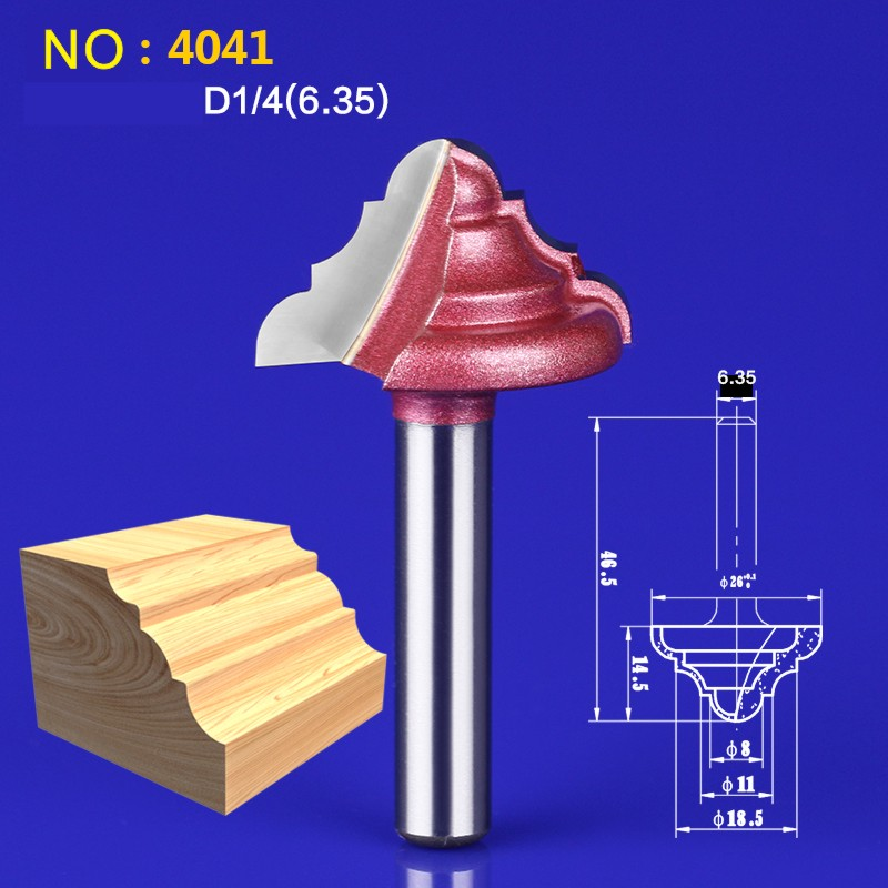 1pcs 6.35*26mm(Shank*Blade Width)3D Lace Woodworking CNC Engraving Machine Milling Knife,Wood Cutter Router Bit Knives NO:4041 high grade carbide alloy 1 2 shank 2 1 4 dia bottom cleaning router bit woodworking milling cutter for mdf wood 55mm mayitr