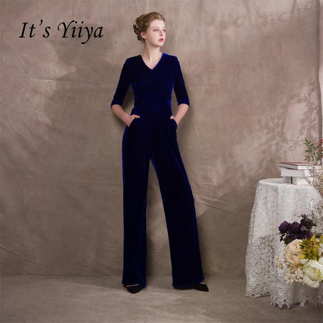 Its Yiiya Blue Half Sleeves Velour Zipper Empire Dinner Party Dress