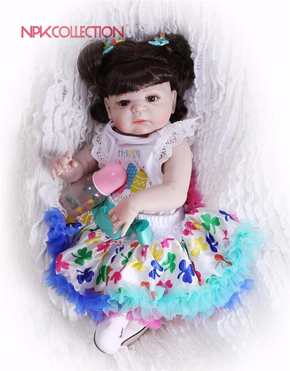 NPKCOLLECTION New Hairstyle Girl Doll Full Silicone Body Lifelike Bebes Reborn Princess Girl Doll Handmade Baby