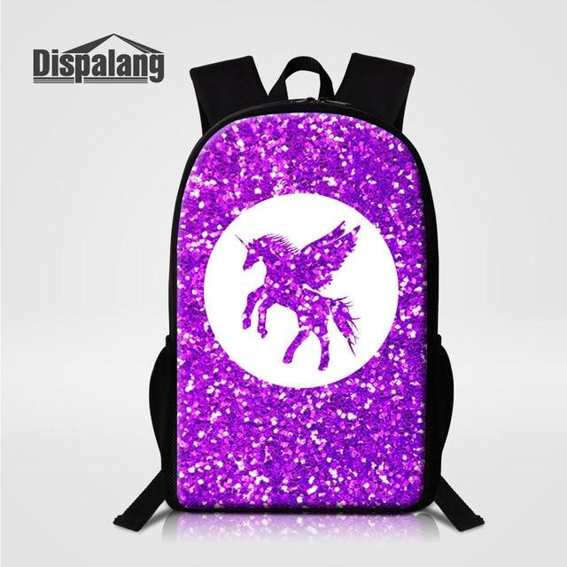 Dispalang 3D Impressão Sacos Animal Cavalo Unicórnio Mochila Para Meninas  Dos Desenhos Animados Escola Primária Mochilas 612358fe94