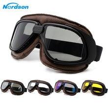 Nordson Motorcycle Goggles Helmet Goggle Glass Vintage Pilot Biker Leather Moto Bike ATV