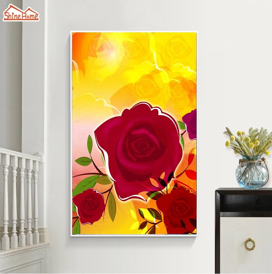 ShineHome Red Rose Golden Wallpaper Mural for 3d Rooms Walls ...