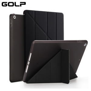 "GOLP Flip Cover for iPad Pro 12.9 case PU Leather Transparent PC Back Tablet Smart cover for iPad Pro 12.9"" 2020 2018 2017 2016(China)"