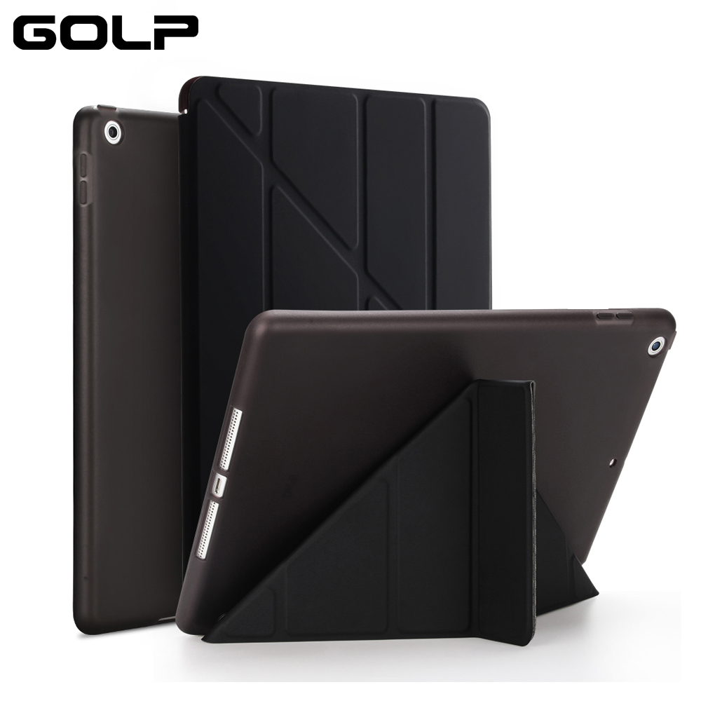 GOLP Flip Cover for iPad Pro 12.9 case PU Leather Transparent PC Back Tablet Smart cover for iPad Pro 12.9